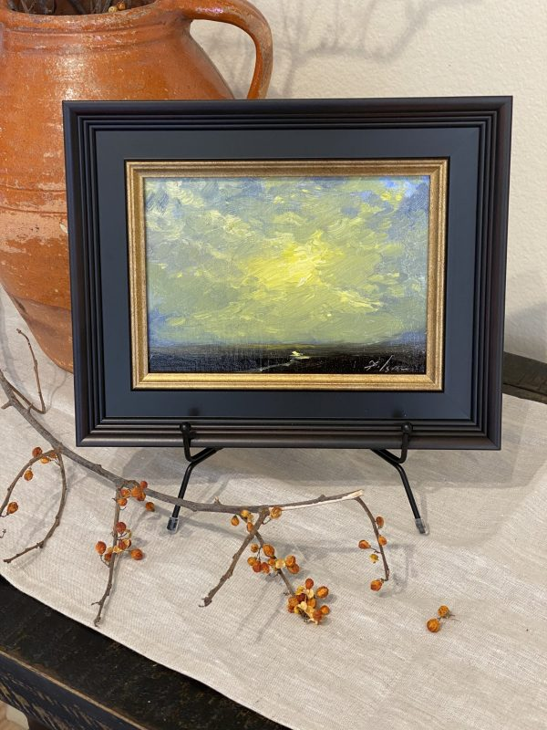 """A photo of an original oil painting of a sunrise by artist Kelli Folsom from Colorado. 6""""x6"""" oil on panel painting framed for sale for $350 in impressionist style"""