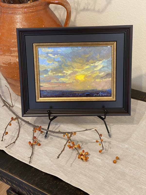 A photo of an original oil painting of a sunrise or sunset by artist Kelli Folsom in Colorado size 5x7 and $350 for sale