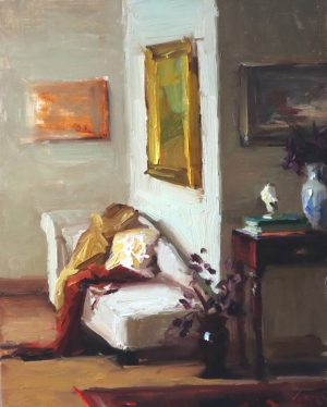 A photo of an original oil painting on panel of an interior of an artist's studio by Kelli Folsom.