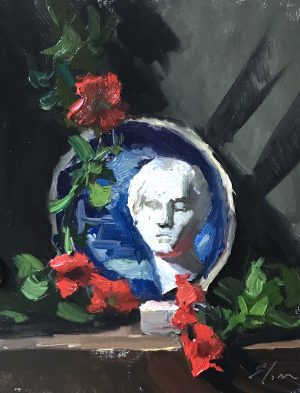 "An original oil painting of a still life featuring a marble statue of a venus bust paired with red petunias and a blue and white plate. Painting is sized 8""x10"" and sold for $350 unframed."